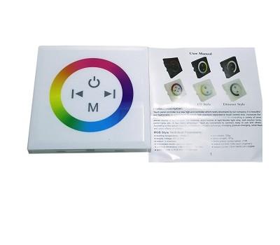 RGB touch-контроллер белый (монтируется как выключатель) 12A, 144W, 12V, 17 режимов
