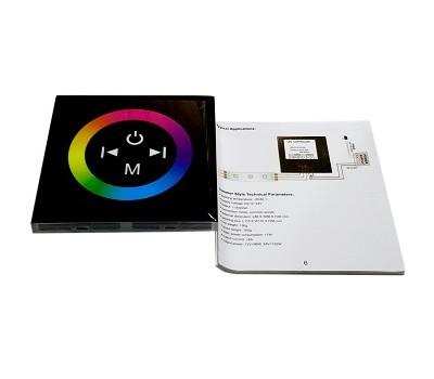 RGB touch-контроллер черный (монтируется как выключатель) 12A, 144W, 12V, 17 режимов