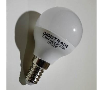 Светодиодная лампа шар цоколь E14 220V - 7,5W 4000K